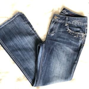 Women's Inc boot leg jeans.